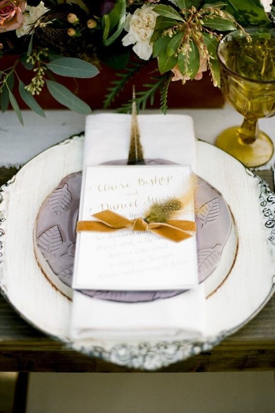 autumn wedding table setting with a hint of lilac + mustard