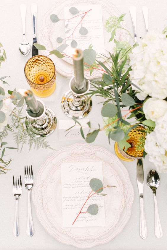 elegant muted table decor with a pop of mustard for timeless fall wedding decor