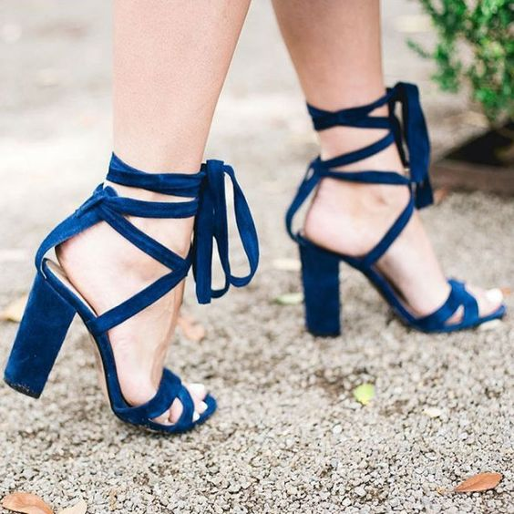 cobalt blue suede lace up heeled sandals to make a colorful statement