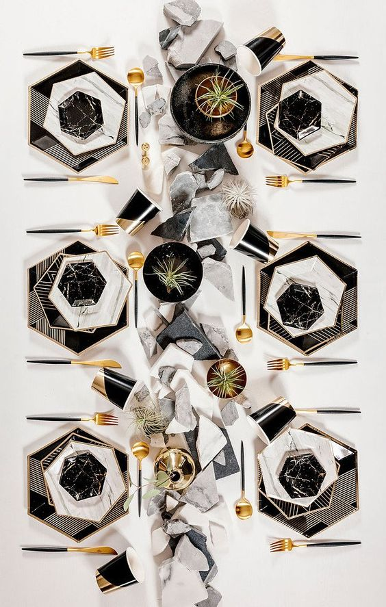 striped hexagon black chargers, marble hexagon plates for a gorgeous modern tablescape