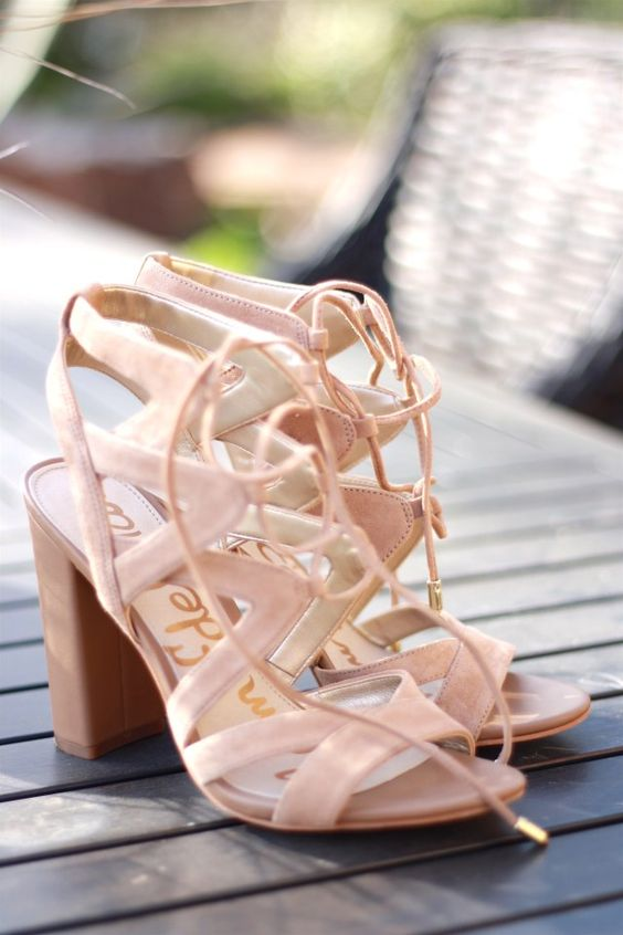 blush lace up sandals with comfy heels