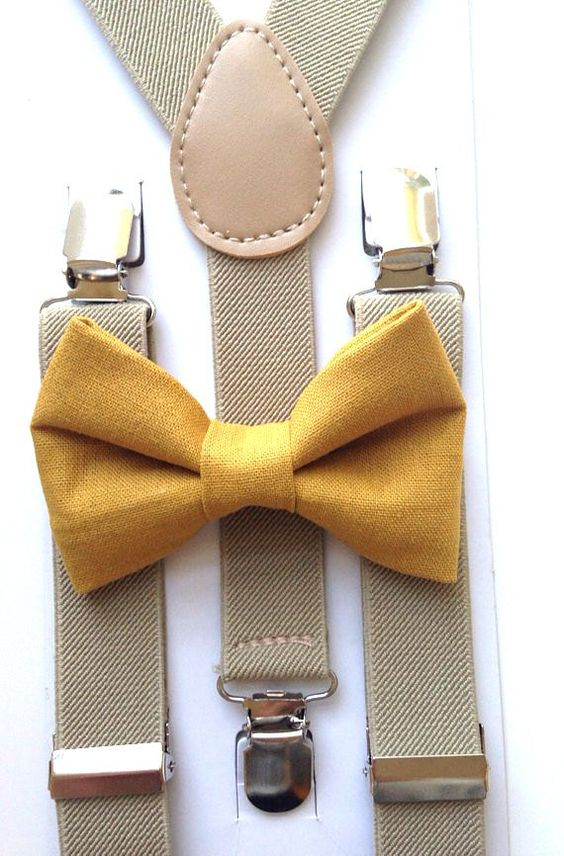 a mustard yellow bow tie is a great idea for any fall groom