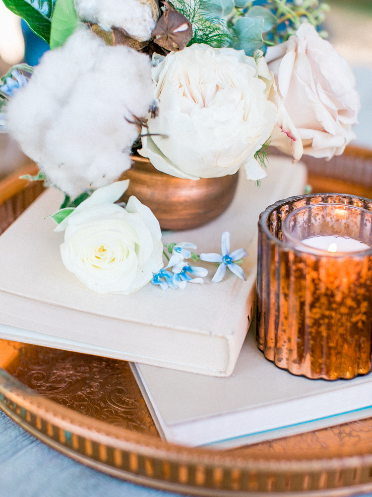 wedding decor ideas - photo by Dennis Roy Coronel http://ruffledblog.com/copper-blue-rancho-las-lomas-wedding-inspiration