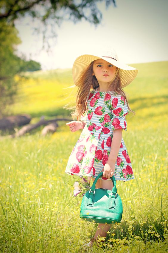 funny and cute strawberry print summer dress with short sleeves