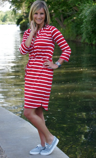 With white and red striped shirtdress
