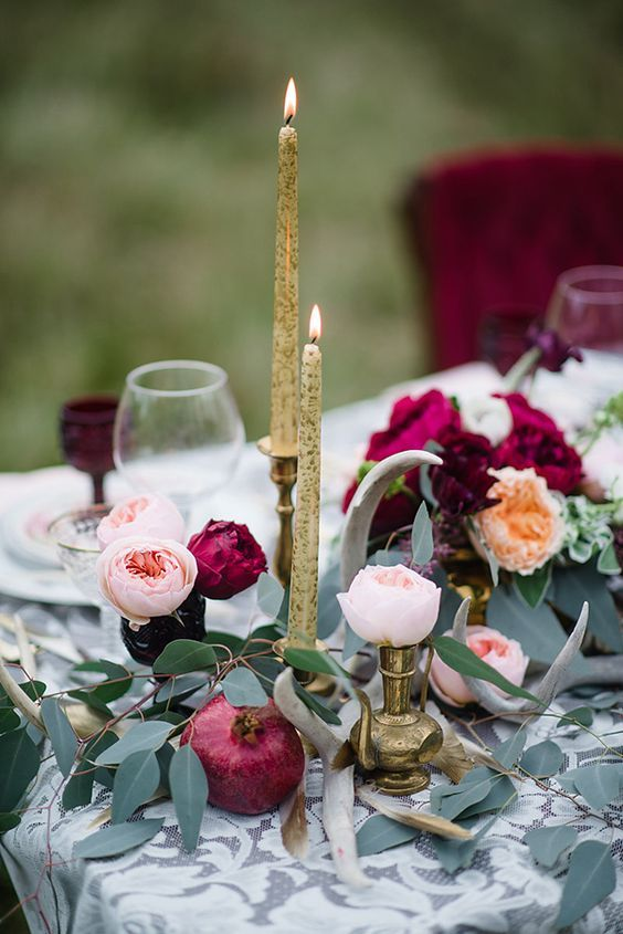 gold candles and candle holders for an elegant fall tablscape