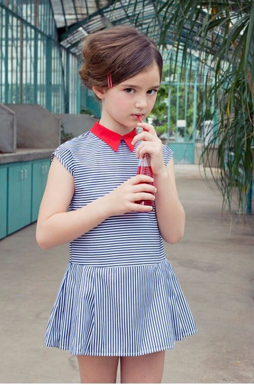 chic thin striped dress with cap sleeves and a red collar