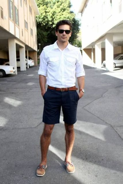 With white shirt, navy blue shorts and brown belt