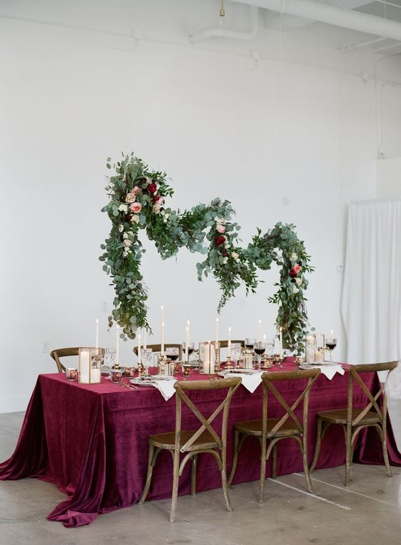 burgundy velvet tablecloth with white and gold touches