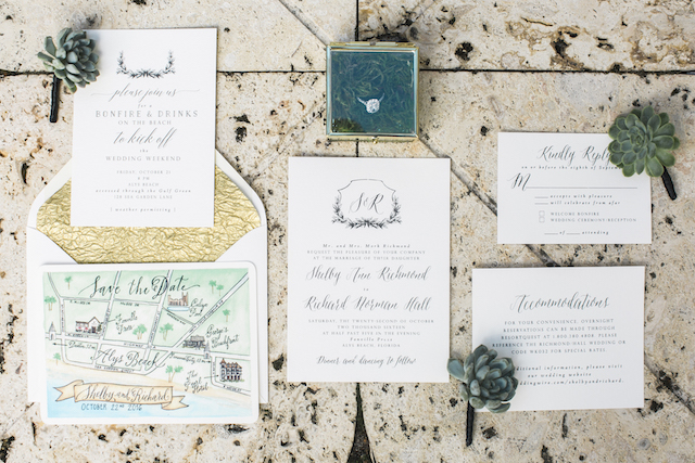 Hand illustrated wedding map |Leslie Hollingsworth Photography