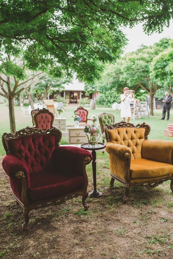 velvet chairs with armrests for a wedding lounge will provide comfort