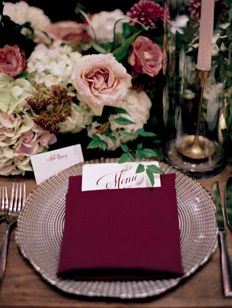 romantic place settings - photo by Bethany Erin Photography http://ruffledblog.com/modern-meets-rustic-wedding-in-dallas