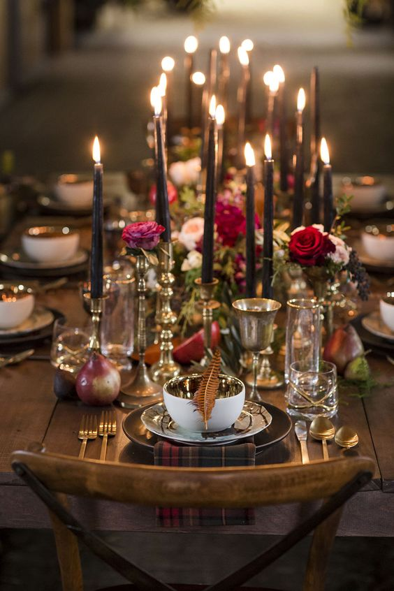 gilded flatware, bowls, goblets and candle holders to add chic to your table