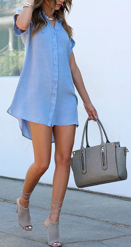 a chambray shirt mini dress with a grey bag and lace up heels