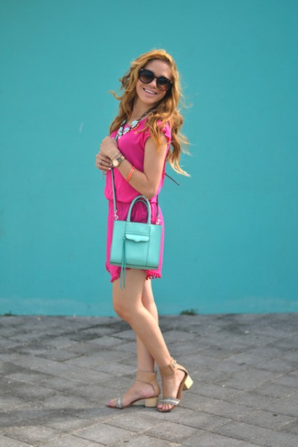With light blue bag and neutral color sandals