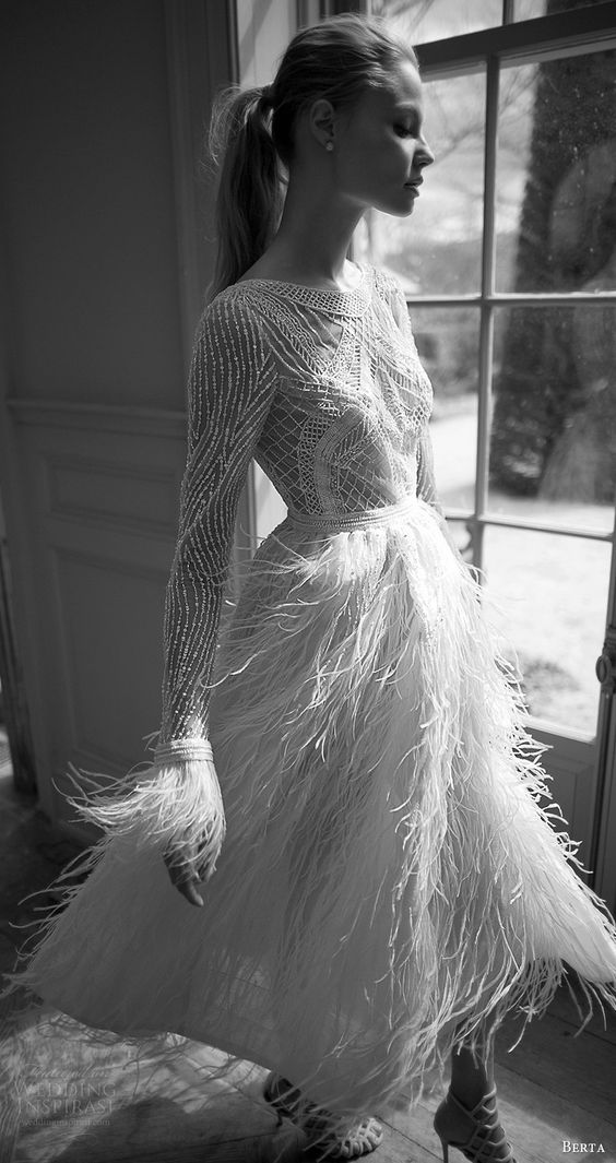long sleeves jewel neckline short wedding dress with a feather skirt and sleeves