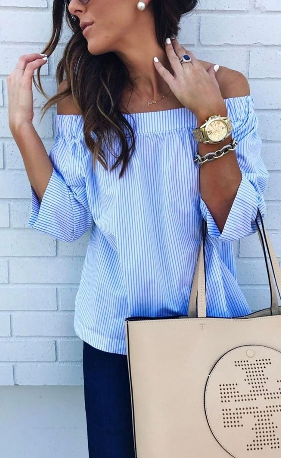 dark denim, blue vertical striped shirt with half sleeves