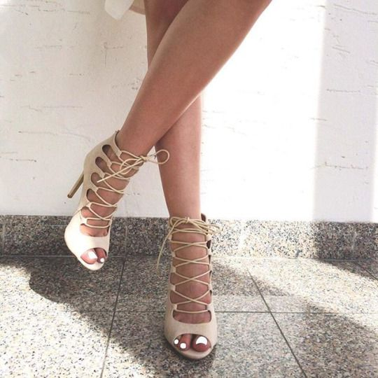 nude ankle lace up stiletto heel sandals