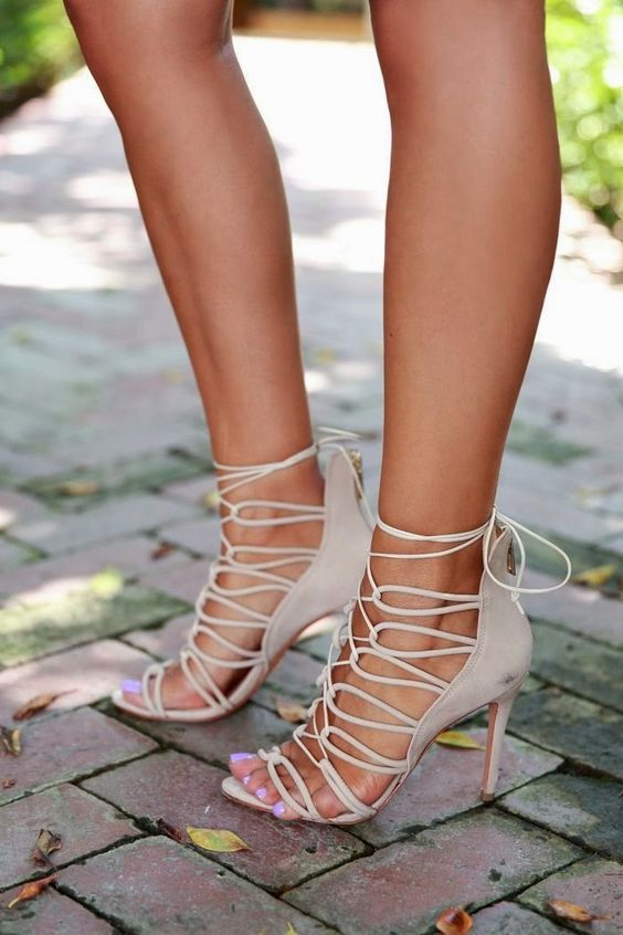 neutral lace up stiletto heeled sandals