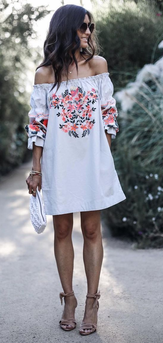 boho off-the-shoulder floral embroidery mini dress with sleeves