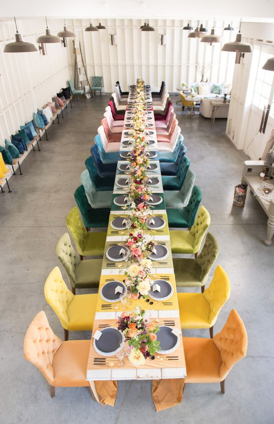 colorful velvet chairs for the wedding tablescape