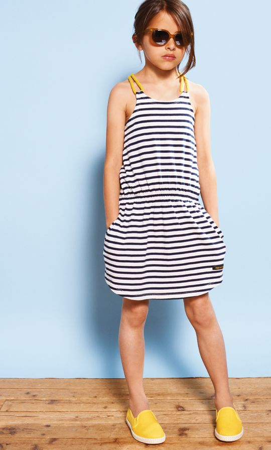 striped black and white casual dress with pockets and yellow stripes
