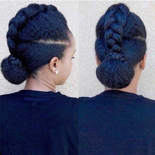 Braid into a Bun Updo for Natural Hair