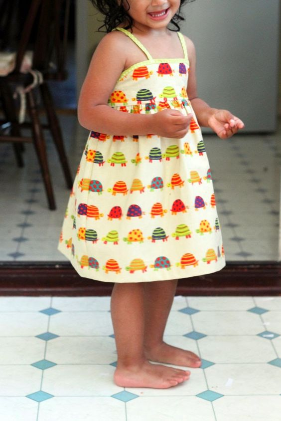colorful turtle printed dress with spaghett straps for the little ones