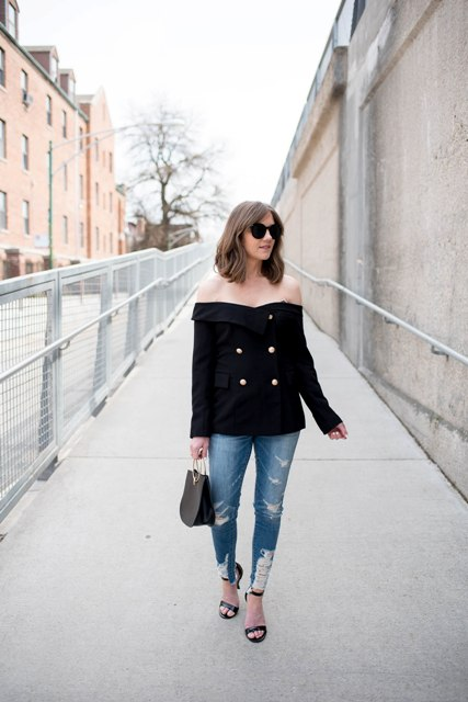 With off the shoulder shirt, jeans and heels