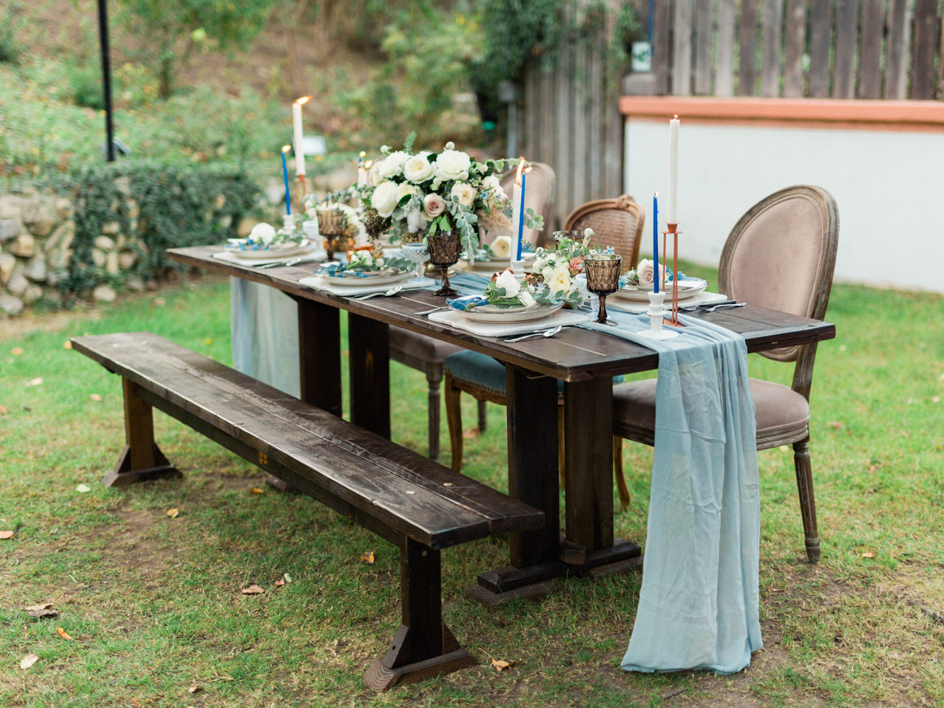 wedding tables - photo by Dennis Roy Coronel http://ruffledblog.com/copper-blue-rancho-las-lomas-wedding-inspiration