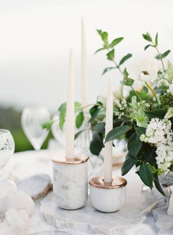 marble and copper candle holders will make your tablescape effortlessly chic