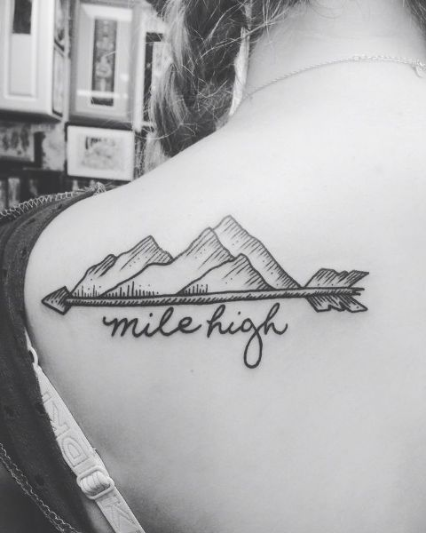Mountain with arrow on the shoulder