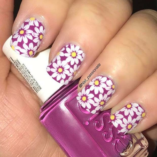 Purple Floral Nail Art for Summer Nails Idea
