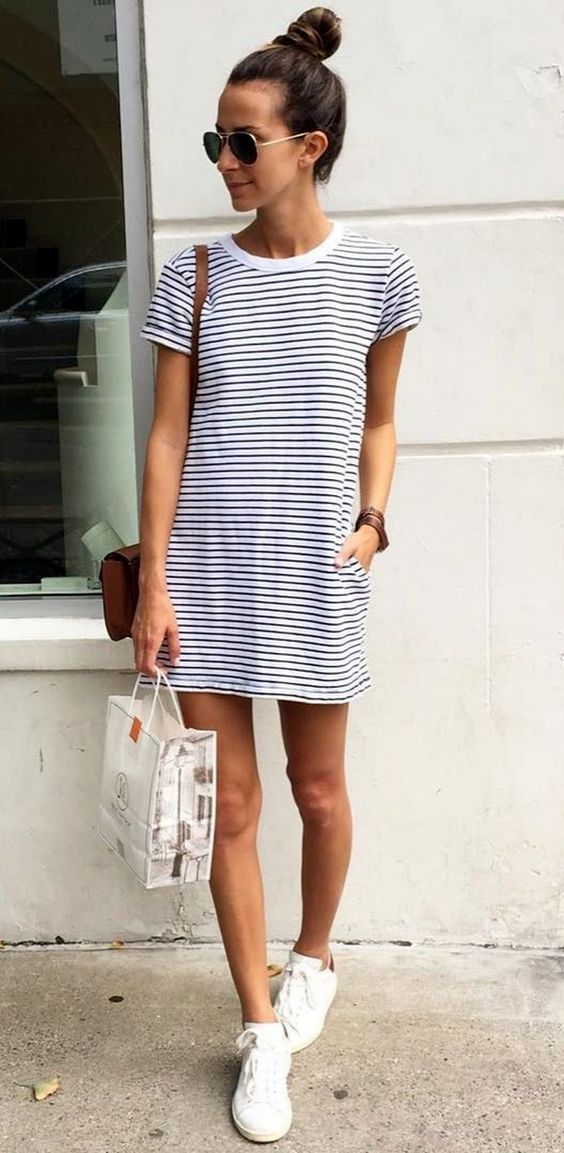 a nautical striped mini dress and white sneakers is always a win-win idea