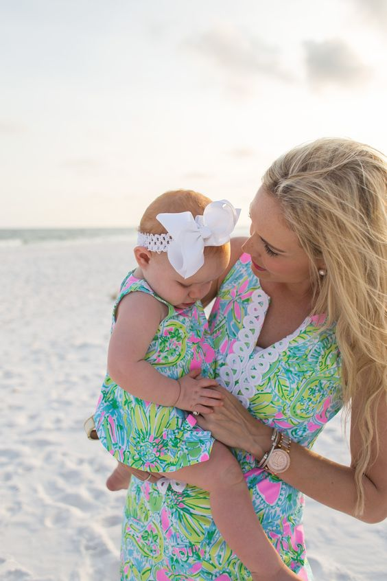 colorful printed beach dresses for the mom and her girl