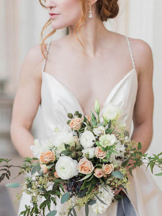 Peach, white, and green bridal bouquet | Kaylee Sorrells Photography