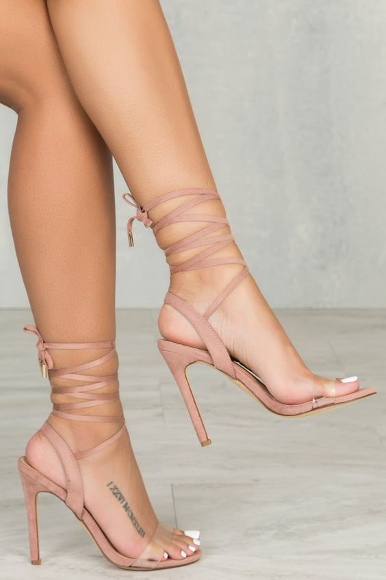 blush high heeled sandals with ribbon lacing up