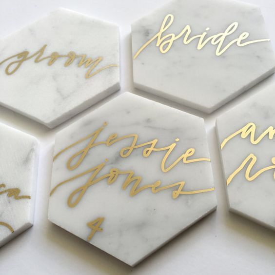 marble honeycomb place cards that can be used as coasters