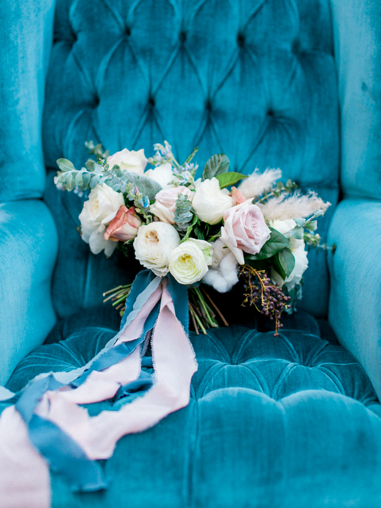 romantic garden bouquets - photo by Dennis Roy Coronel http://ruffledblog.com/copper-blue-rancho-las-lomas-wedding-inspiration