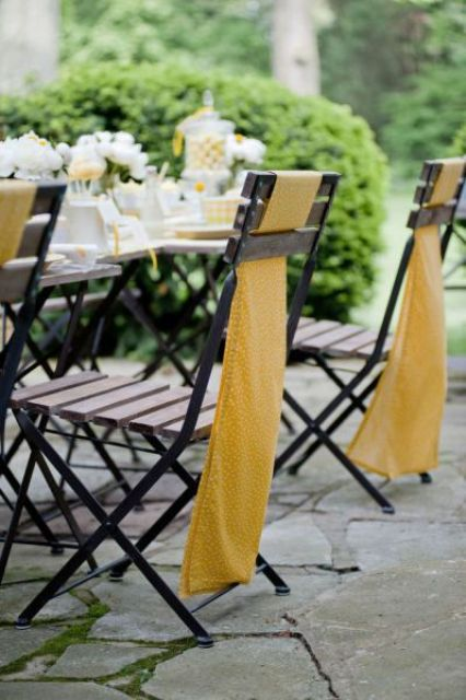 polka dot mustard wedding chair covers to add an elegant flavor