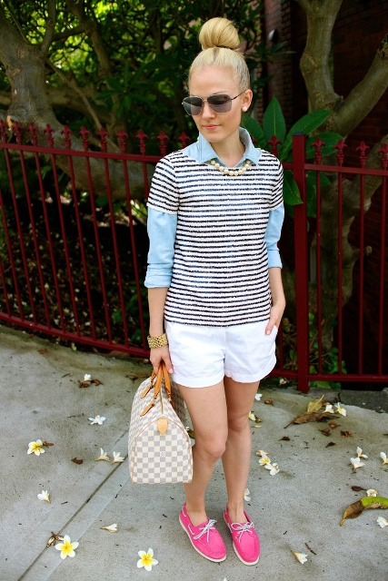 With light blue shirt, striped shirt, white shorts and printed bag