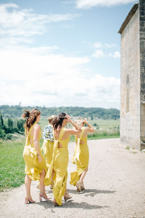 mustard cutout back bridesmaids' dresses with side slits