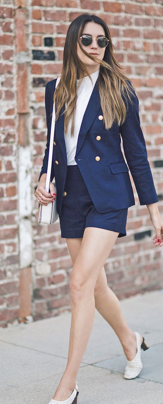 a nautical basketweave blazer with tailored shorts and a white top and shoes