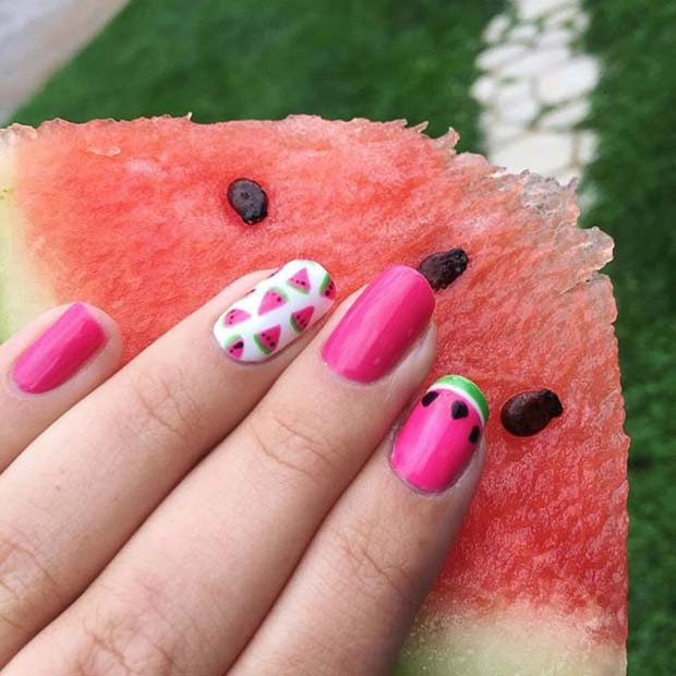 Watermelon Nail Art Design for Summer Nails Idea