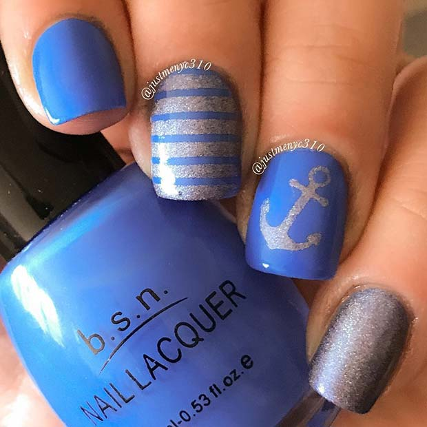 Nautical Anchor Nail Design for Summer Nails Idea