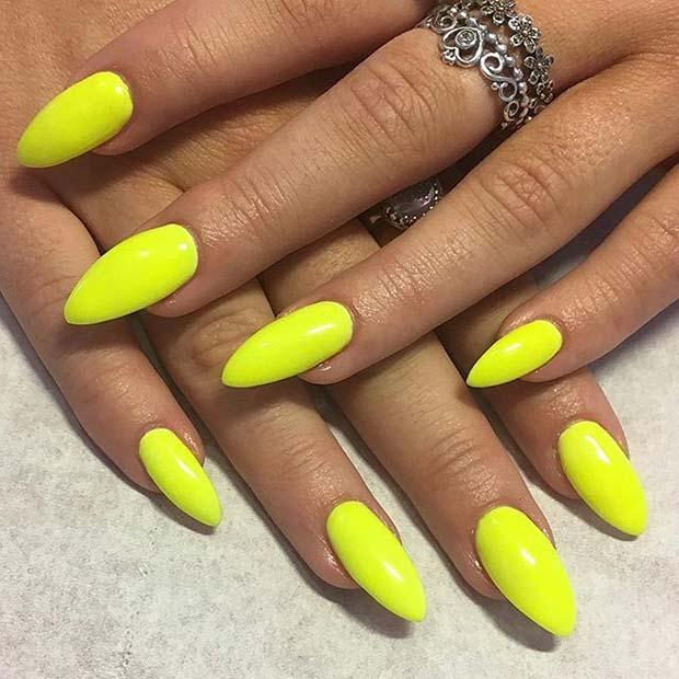 Almond Shape Vibrant Yellow Nail Design for Summer Nail Ideas