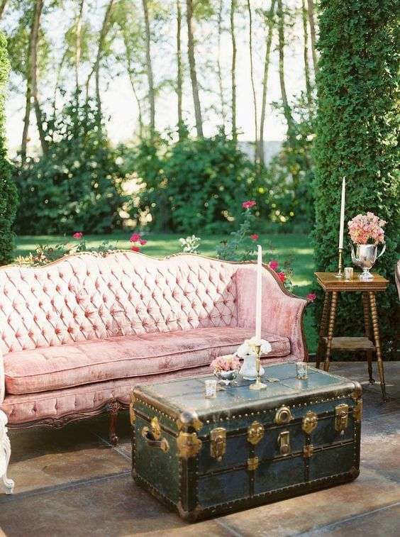 a pink velvet sofa for the lounge will make it glam and refined