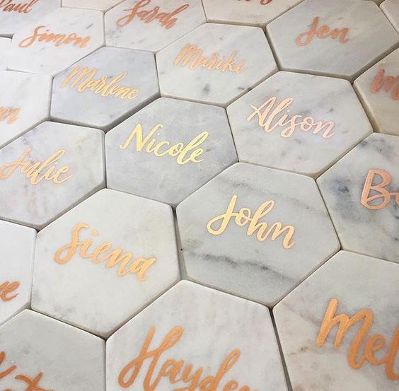 personalized marble coasters that double as seating cards