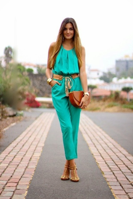 With brown belt, leather half moon clutch and heels