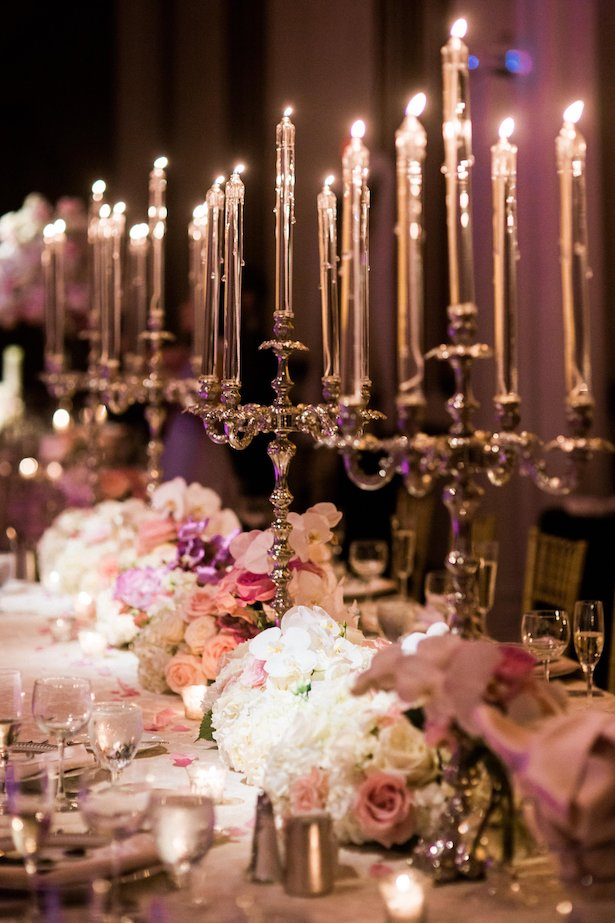 Glamorous Wedding tablescape with candlelight decor - Style and Story Photography